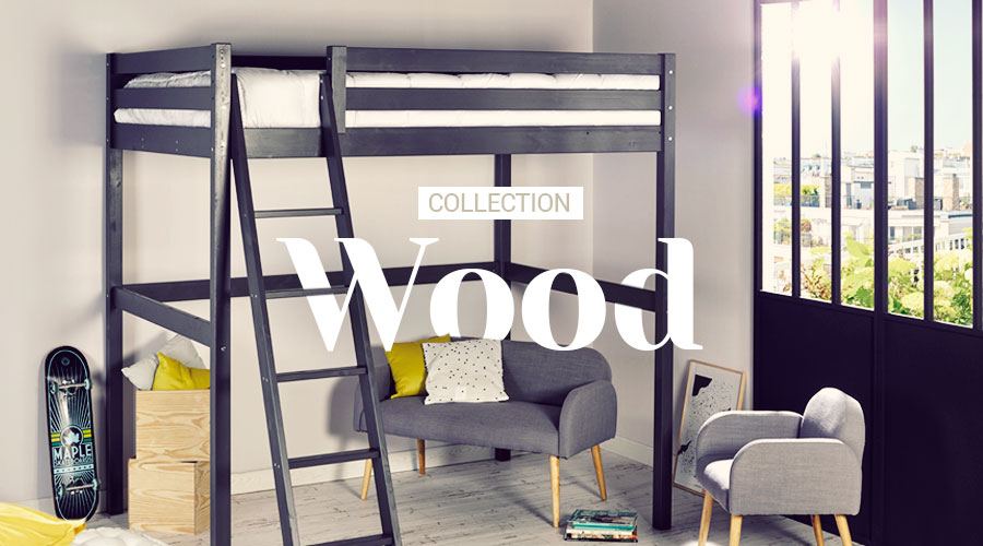 Chambre enfant collection wood idkid 39 s - Lit mezzanine junior ...
