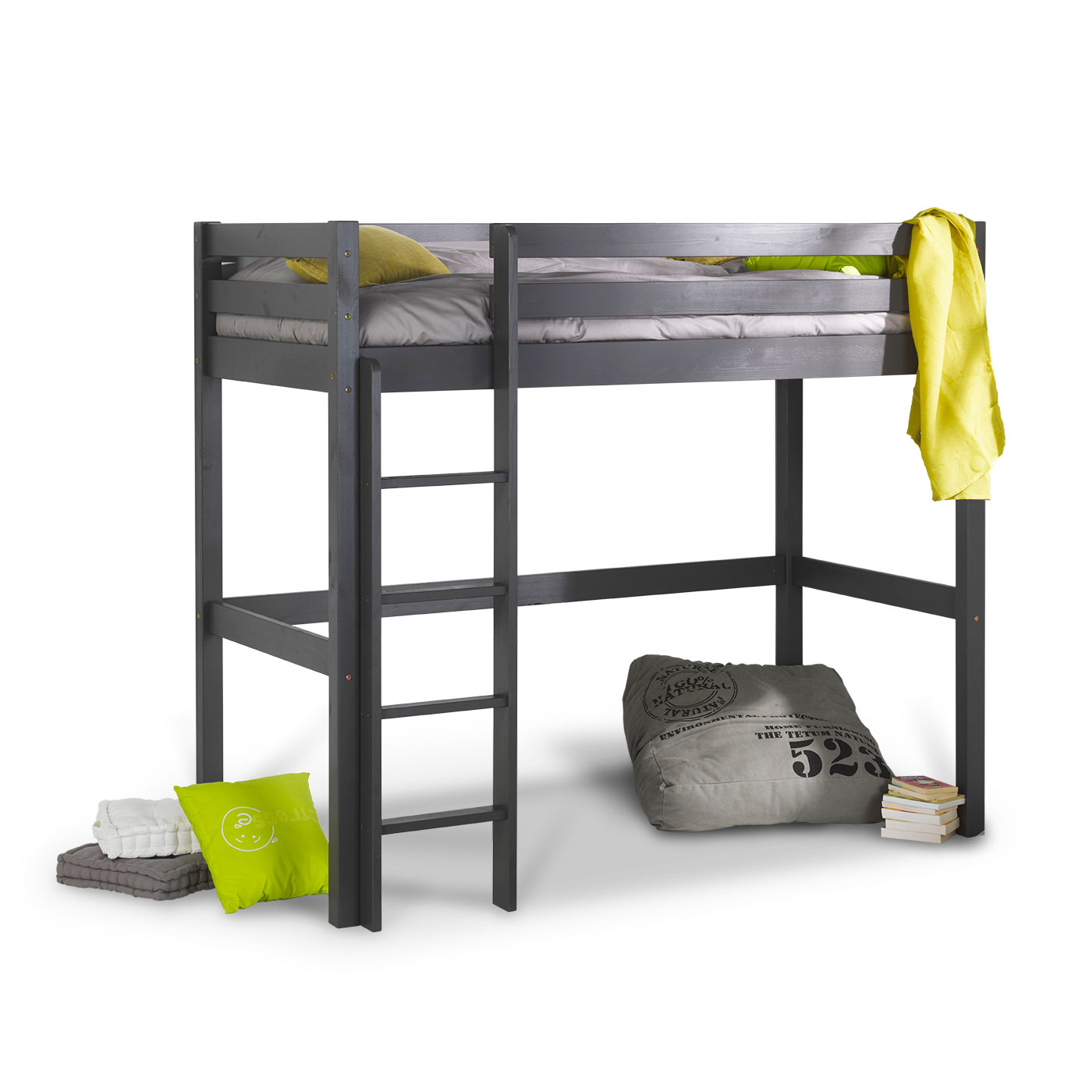 Lit mezzanine enfant wood gris anthracite idkid 39 s for Lit mezzanine enfant