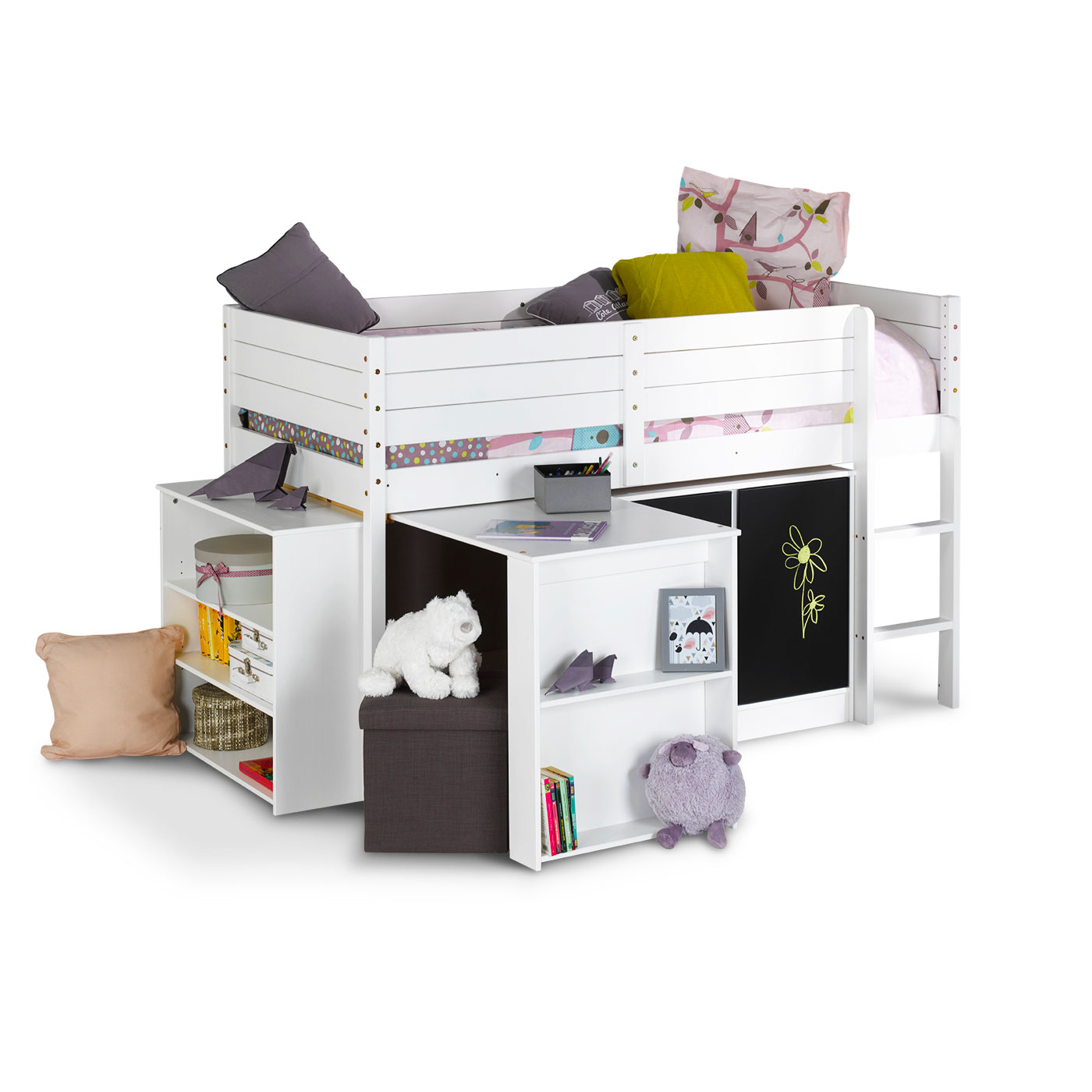 amenagement sous lit mi hauteur amazing bureau sous un lit mi hauteur coloris blanc rose with. Black Bedroom Furniture Sets. Home Design Ideas