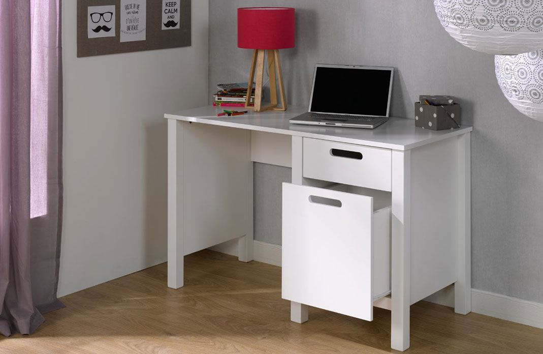 bureau enfant avec rangement spock blanc idkid 39 s. Black Bedroom Furniture Sets. Home Design Ideas