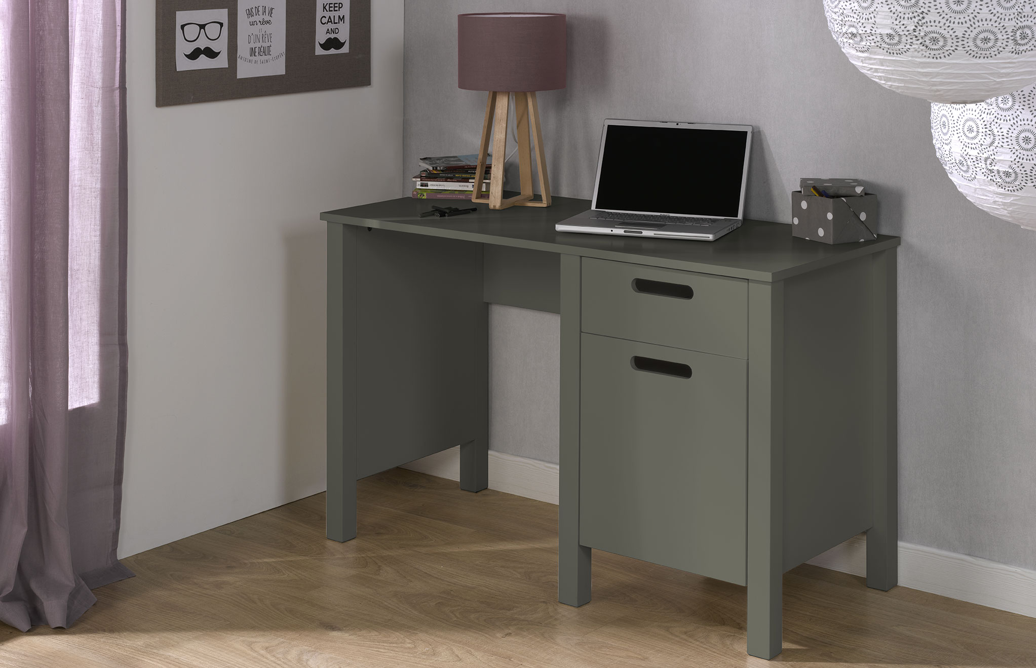 bureau enfant avec rangement spock gris idkid 39 s. Black Bedroom Furniture Sets. Home Design Ideas