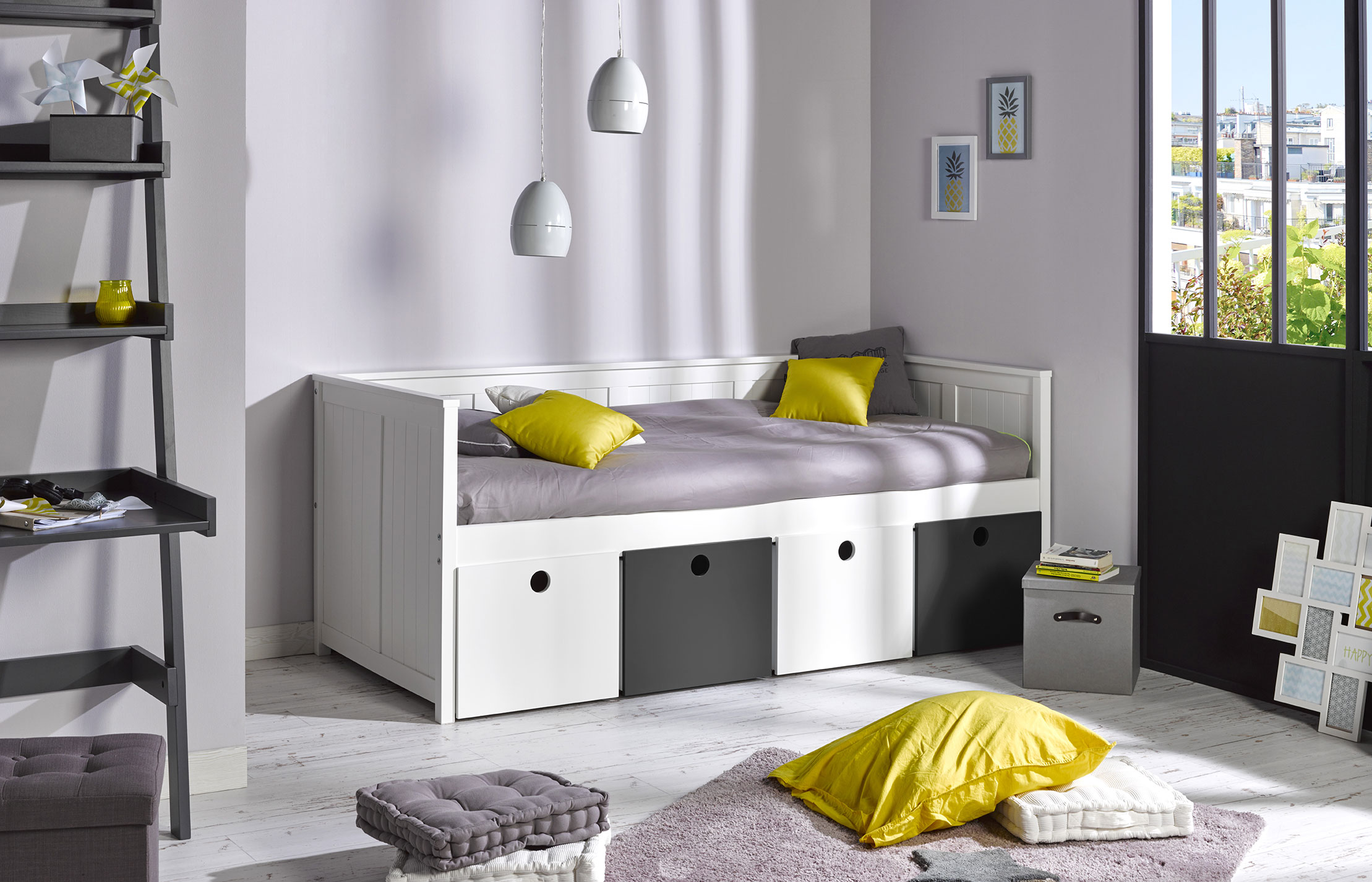 lit banquette enfant avec rangements zaz idkid 39 s. Black Bedroom Furniture Sets. Home Design Ideas