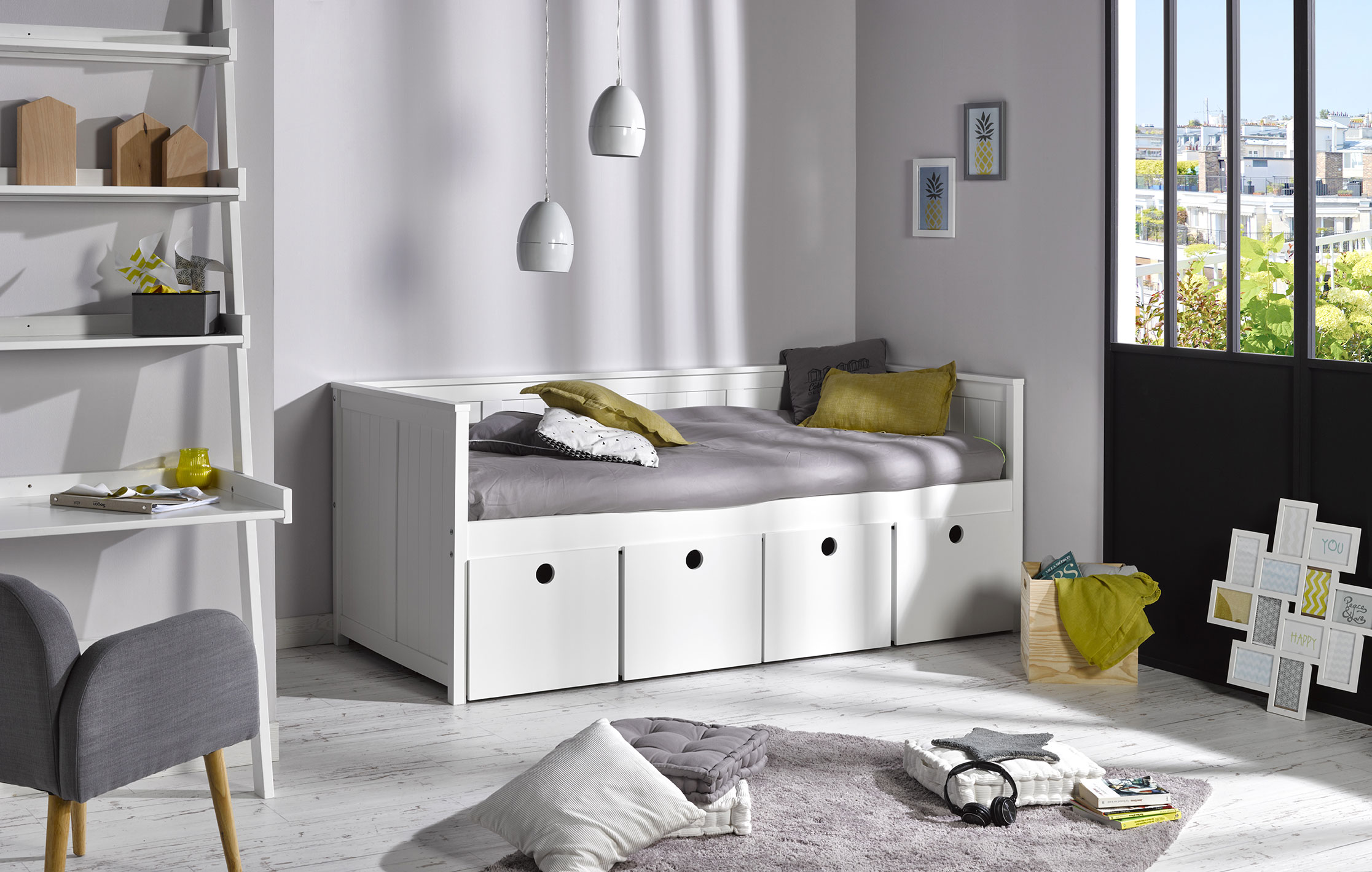lit banquette enfant avec rangements zaz idkid 39 s. Black Bedroom Furniture Sets. Home Design Ideas