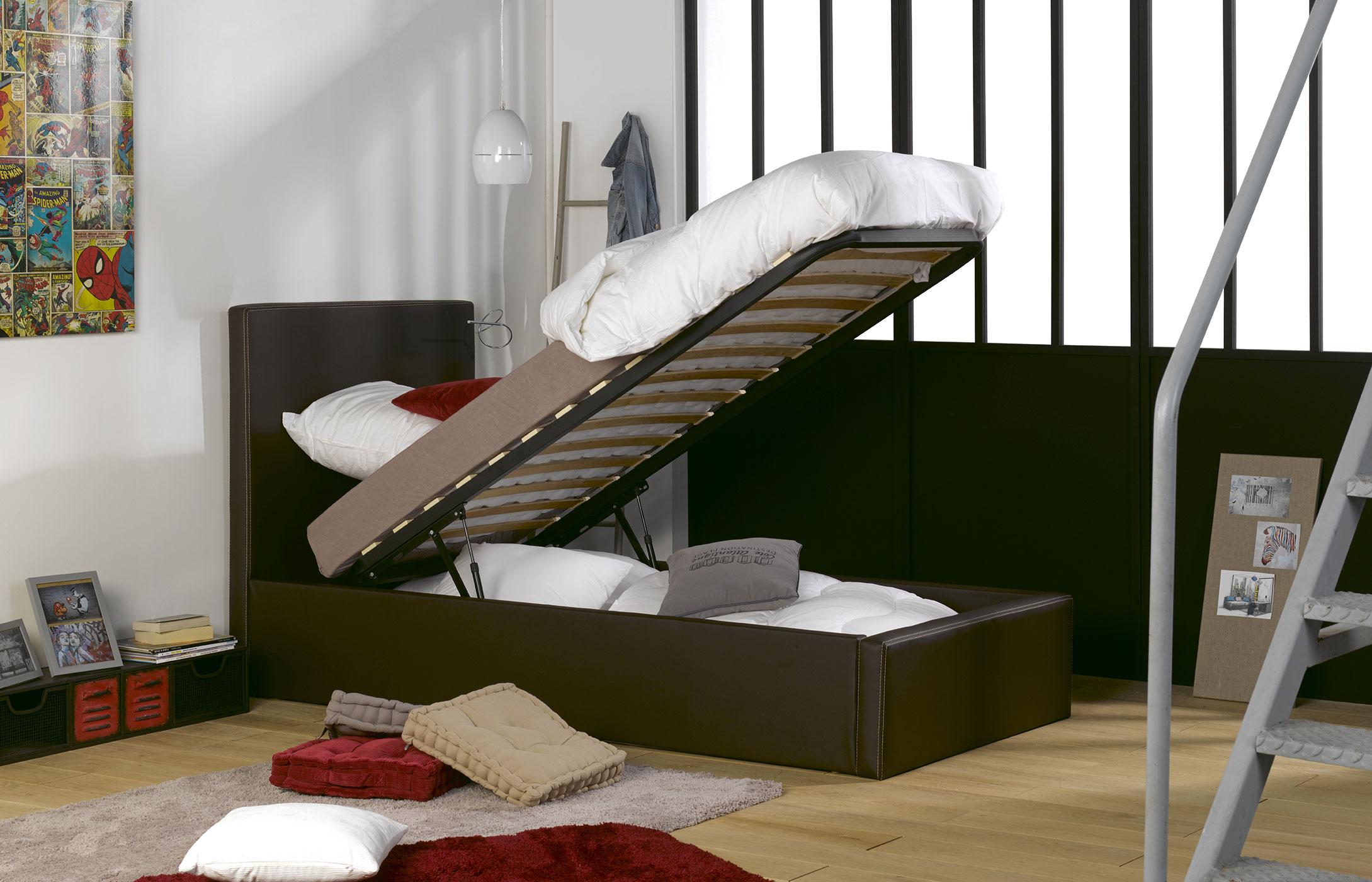 lit coffre enfant orlando similicuir marron idkid 39 s. Black Bedroom Furniture Sets. Home Design Ideas