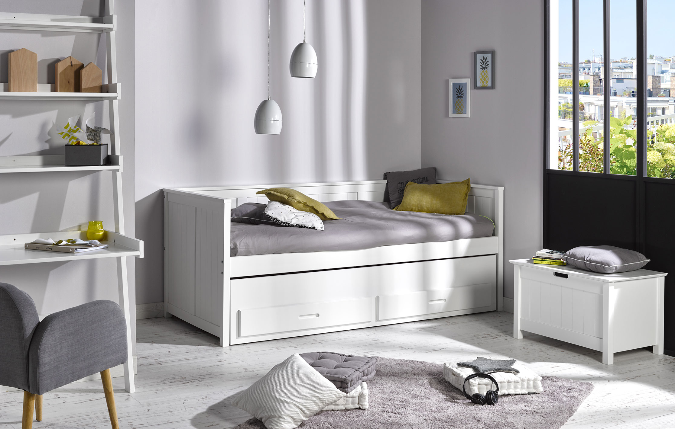 lit gigogne enfant zaz blanc idkid 39 s. Black Bedroom Furniture Sets. Home Design Ideas