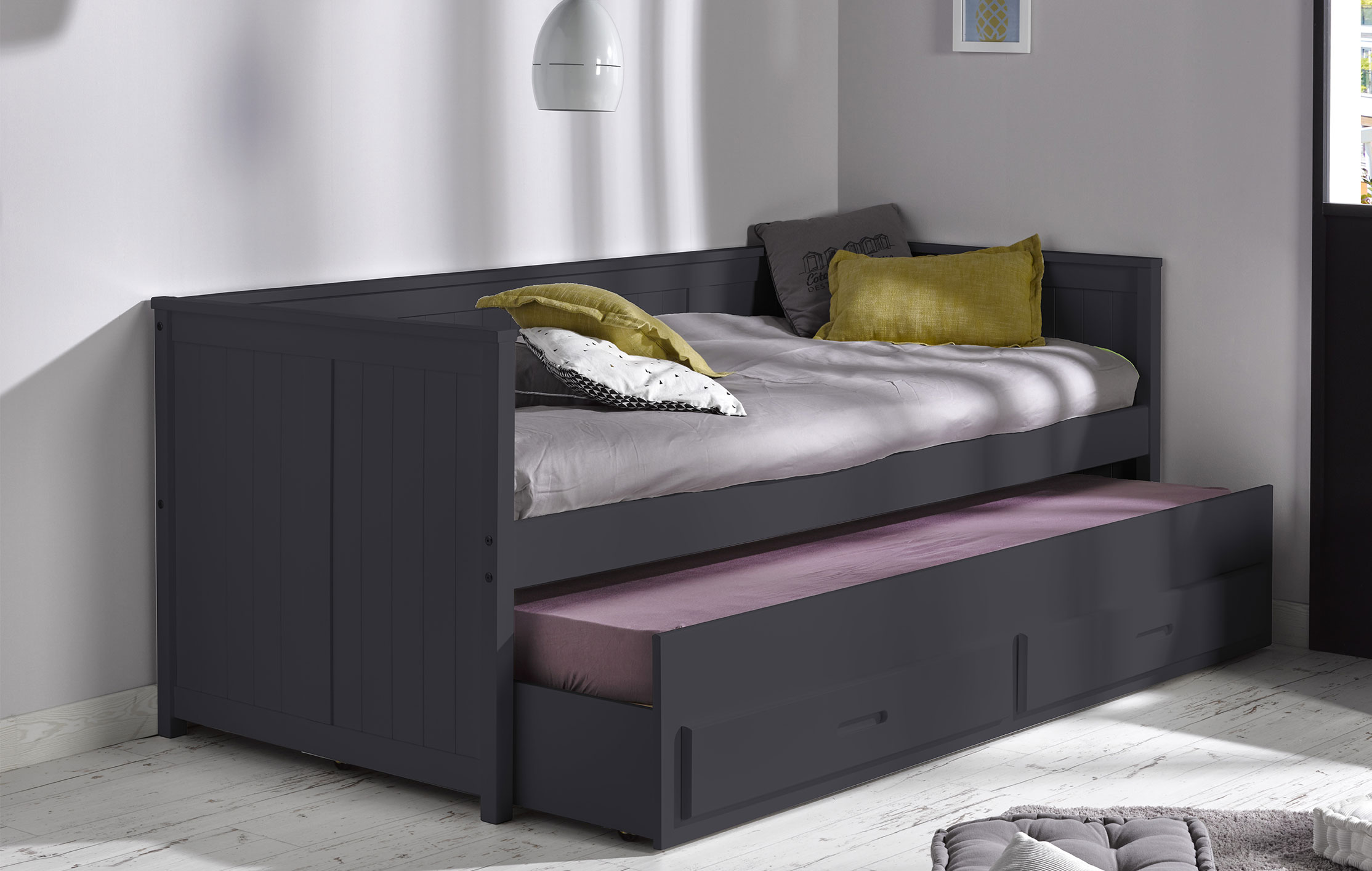 beautiful lit gigogne gris contemporary. Black Bedroom Furniture Sets. Home Design Ideas