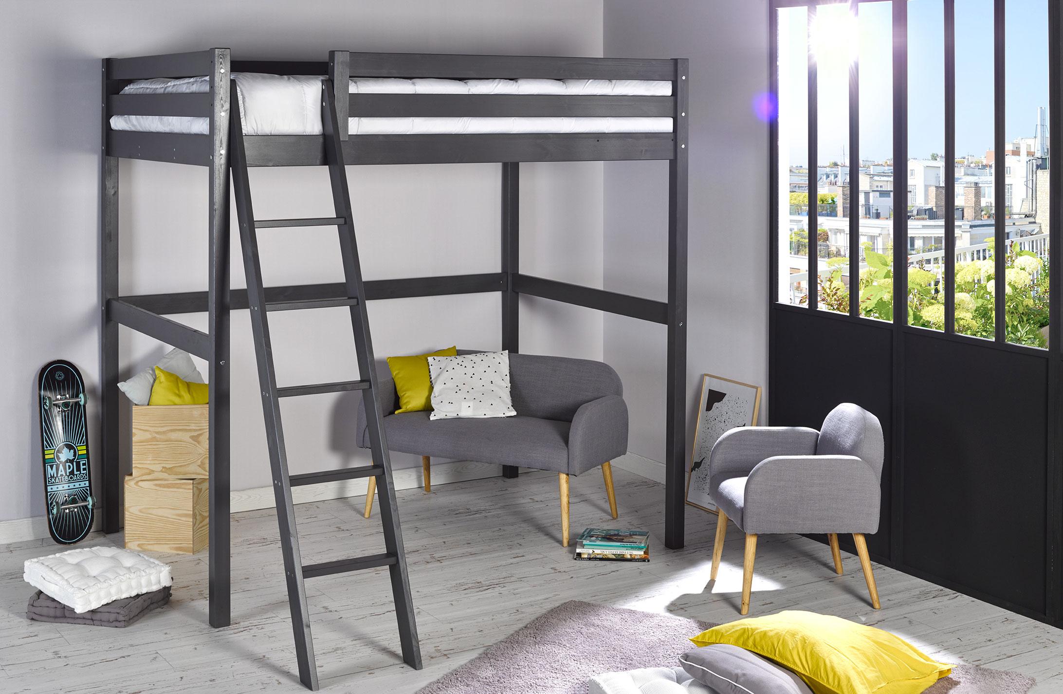 lit mezzanine 140 wood gris anthracite idkid 39 s. Black Bedroom Furniture Sets. Home Design Ideas
