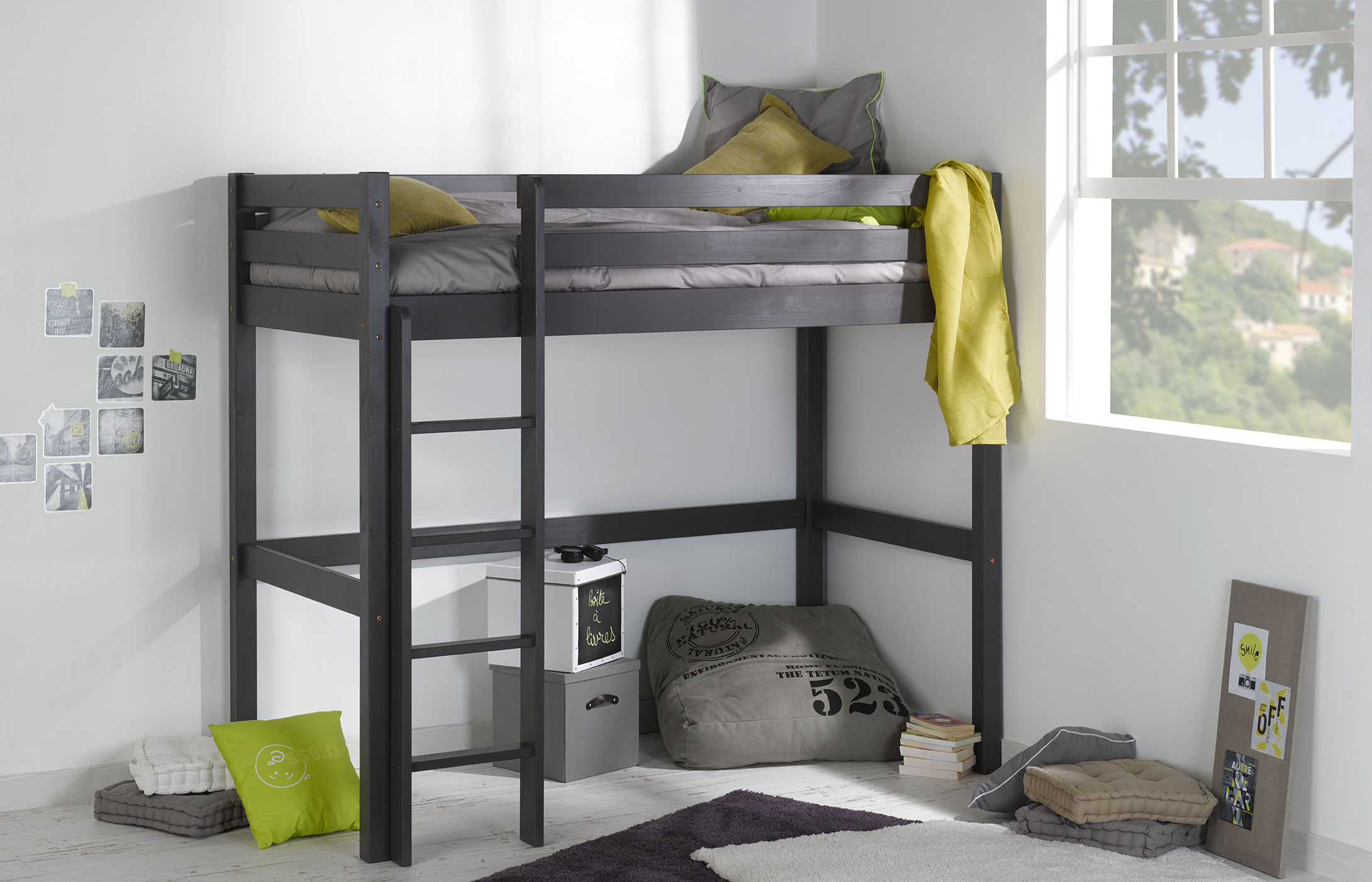 lit mezzanine enfant wood gris anthracite idkid 39 s. Black Bedroom Furniture Sets. Home Design Ideas