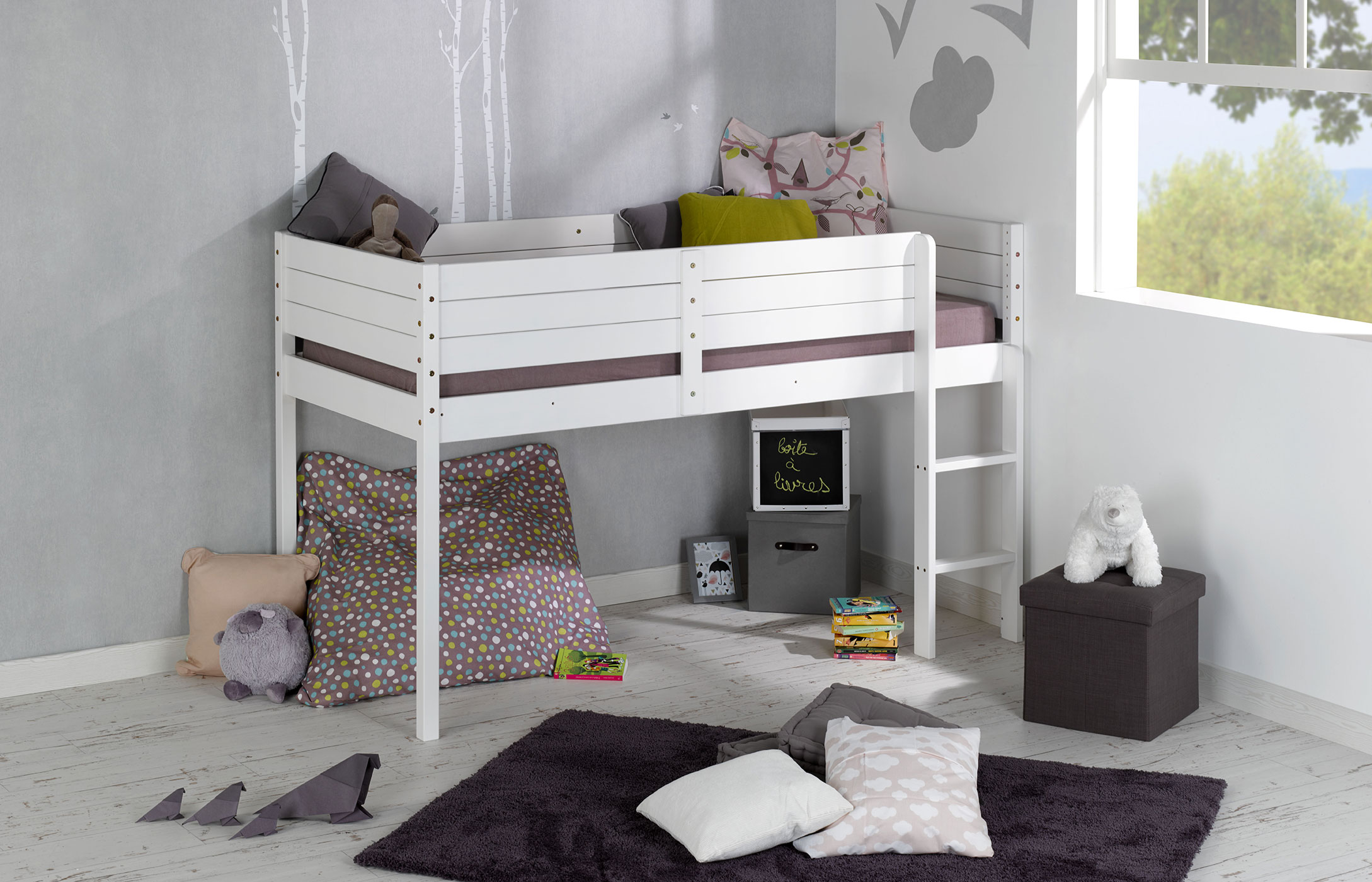 lit mi hauteur enfant paraiso blanc idkid 39 s. Black Bedroom Furniture Sets. Home Design Ideas