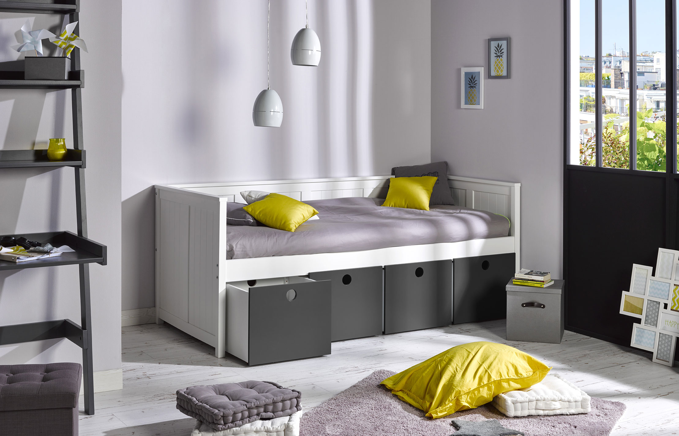 Bureau tag re enfant zaz gris anthracite idkid 39 s for Lit rangement