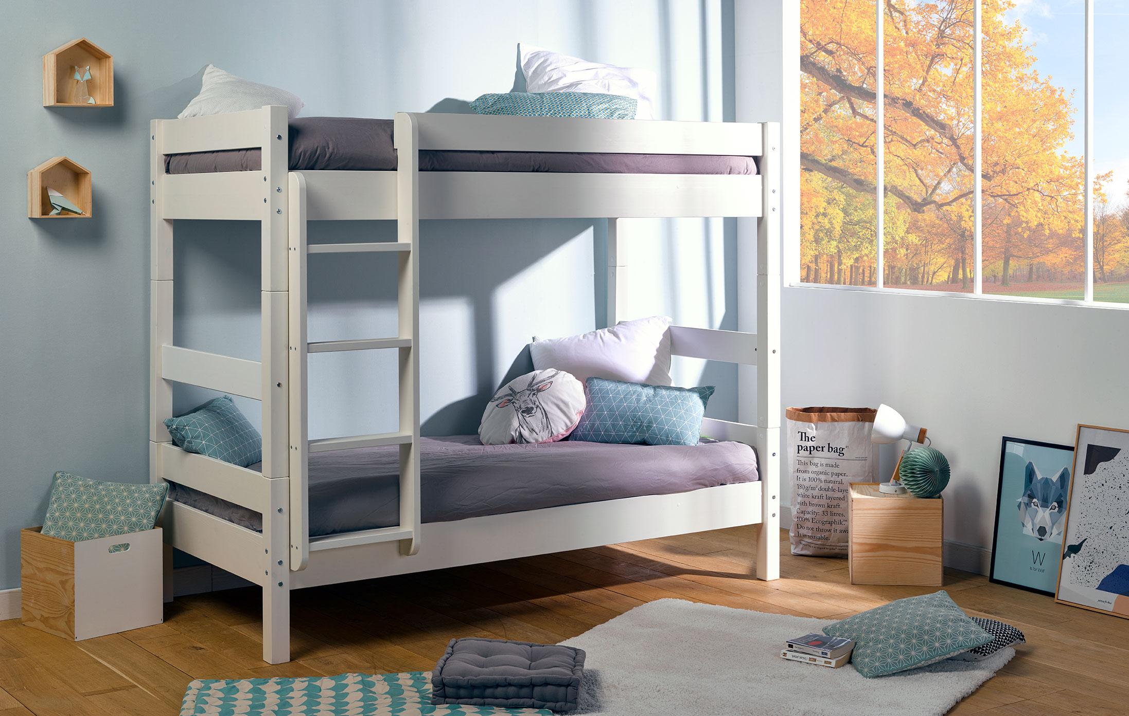 lit superpos volutif wood blanc idkid 39 s. Black Bedroom Furniture Sets. Home Design Ideas