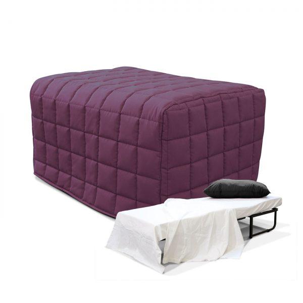 Lit pliant convertible housse coloris violet idkid 39 s - Pouf lit convertible ...