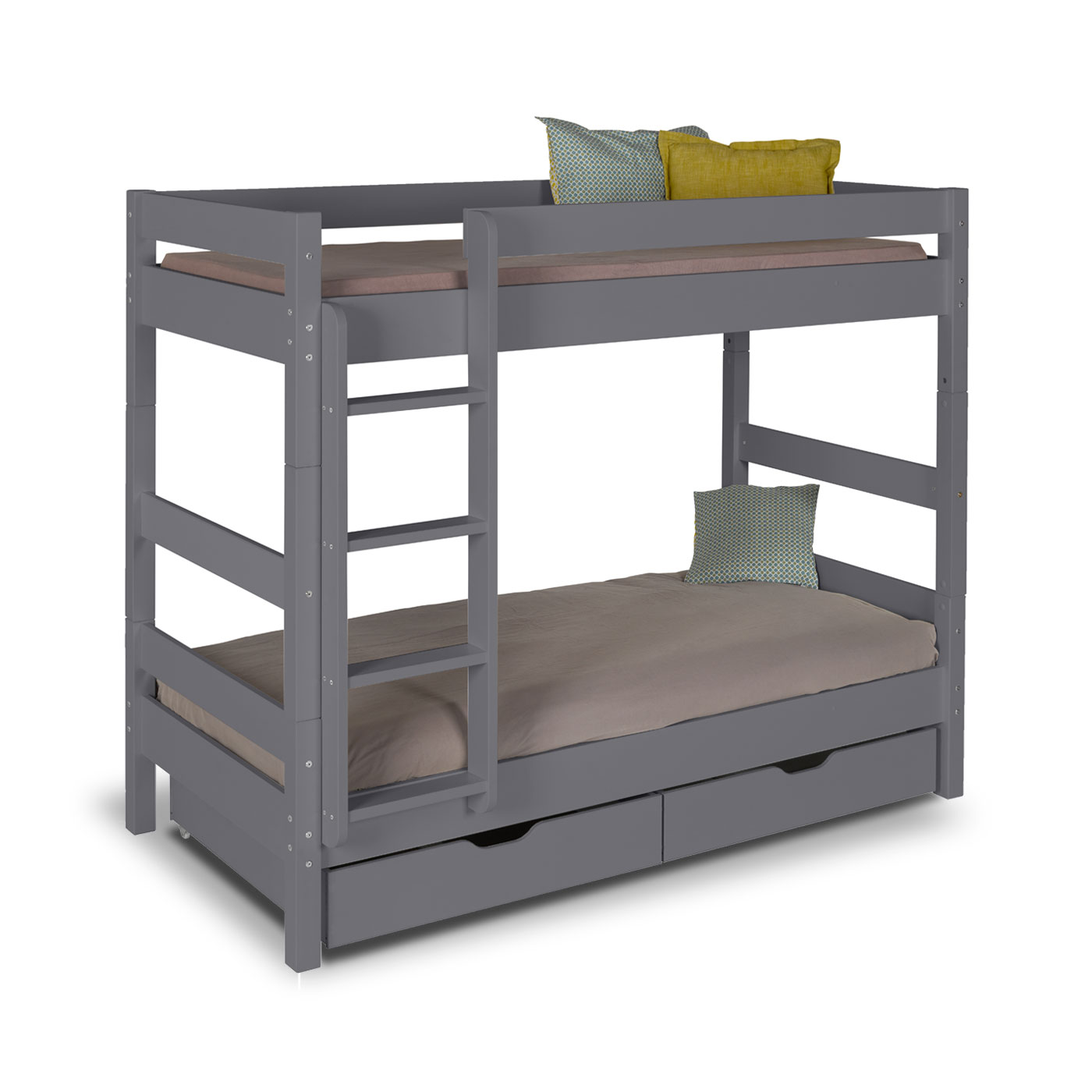 Lit superpos volutif wood gris anthracite idkid 39 s - Lit enfant superposer ...