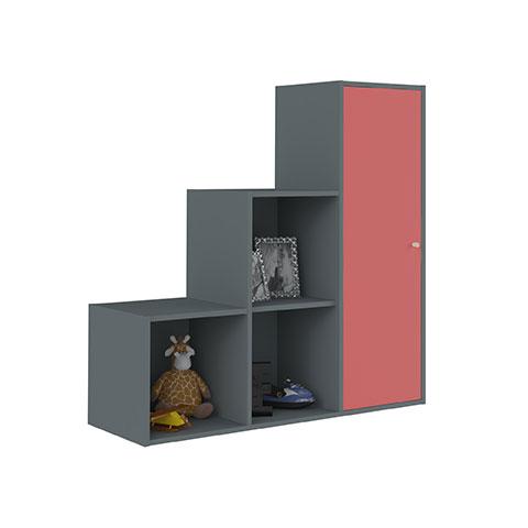 Casier de rangement escalier six cases gris anthracite idkid 39 s - Meuble de rangement a casier ...