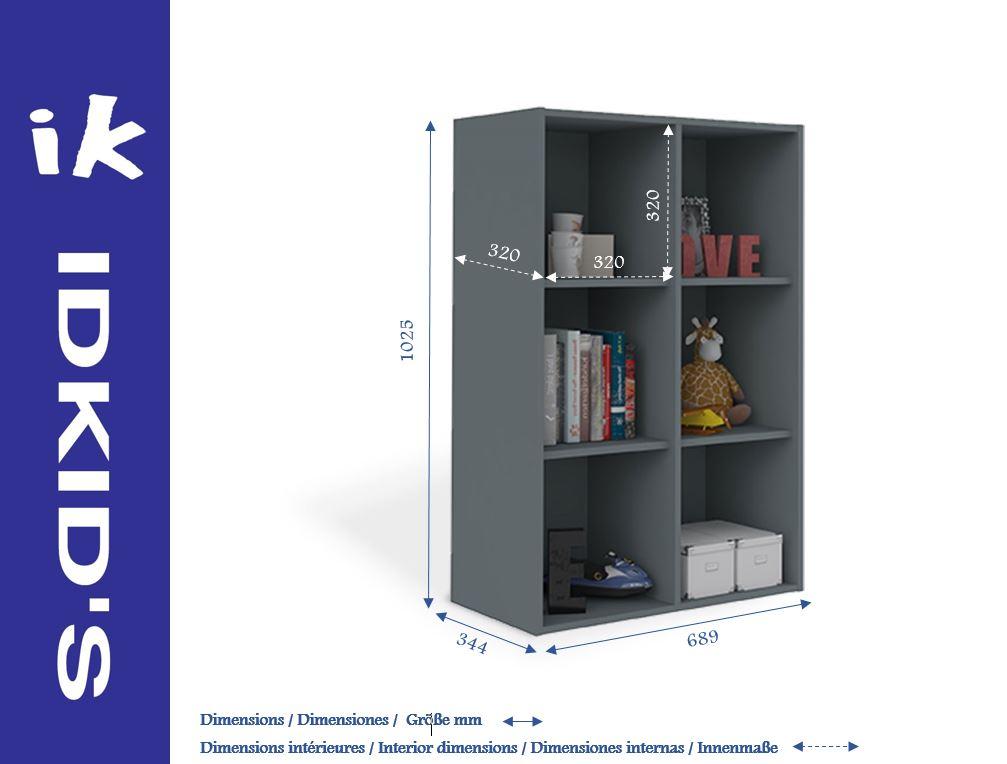 casier de rangement six cases gris anthracite idkid 39 s. Black Bedroom Furniture Sets. Home Design Ideas