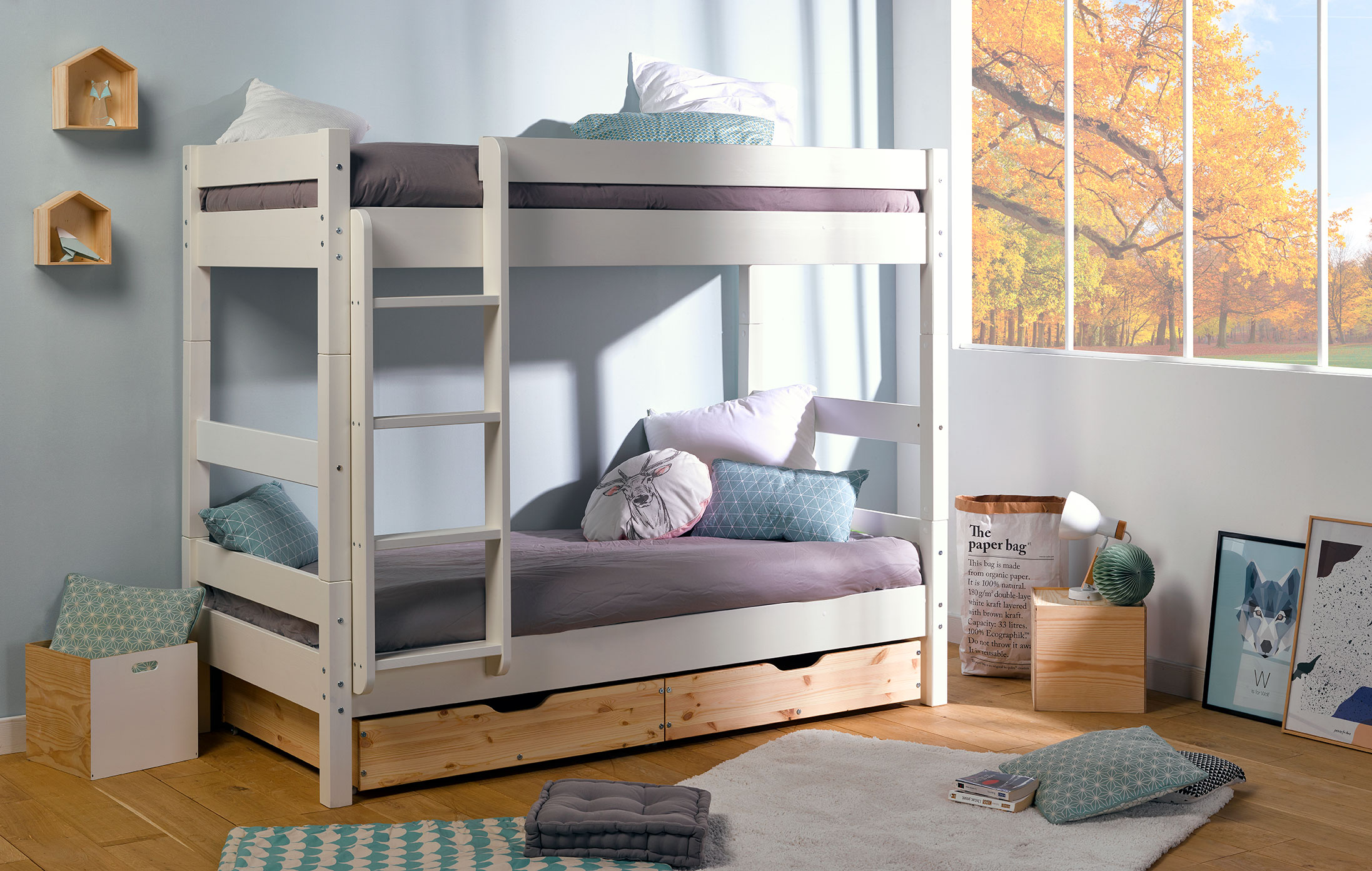 lit superpos enfant volutif bois finition brute idkid 39 s. Black Bedroom Furniture Sets. Home Design Ideas